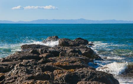 shoreline: Rocosa costa del oc�ano Pac�fico en la playa de california Foto de archivo