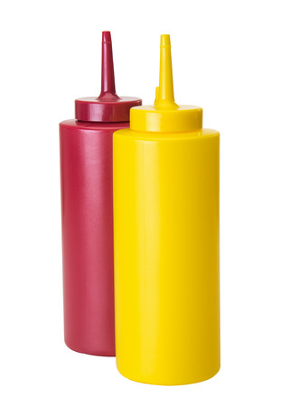 squirt: Mustard and ketchup squeze containers with squirt tip