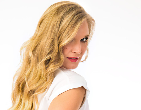 Beautiful blonde woman with great skin and hair Stock Photo