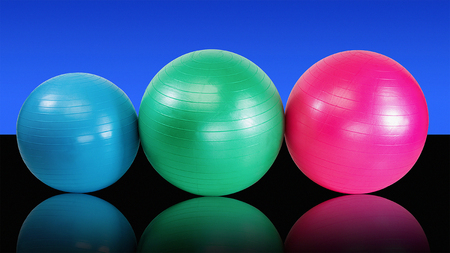 Group fitness balls for health club workout