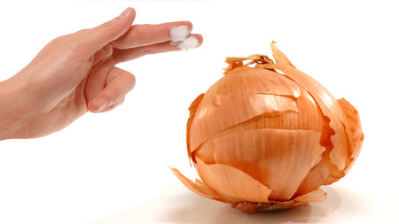 Dry skin on onion representing skincare problems Stock fotó