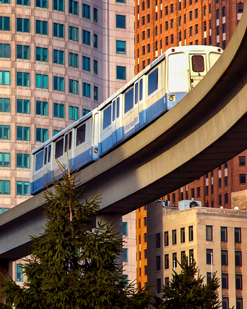 Downtown Detroit monorail mas transit for tourism and commute Editorial