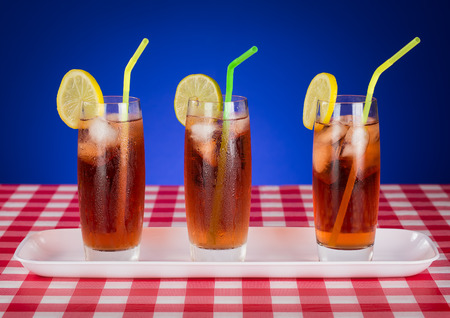 Colorful arrangement of Iced Tea glasses Stock Photo