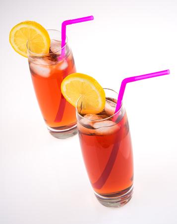 Glasses of iced tea with lemon lime slice Stock Photo