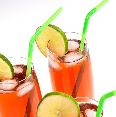 Glasses of iced tea with lemon lime slice Stock Photo