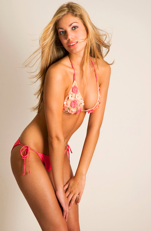 Pink Bikini Fitness Blonde Girl on White