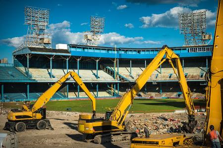 Demolition equipment at old tiger stadium teardown