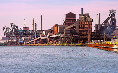 Working detroit river automotive steelmill