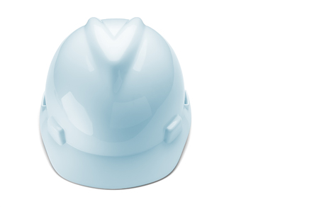 Blue tinted construction hard hat isolated on white Banco de Imagens