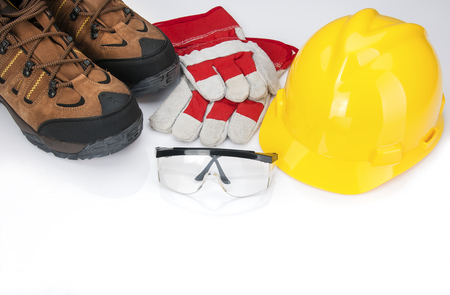 Osha required safety items for industrial workers Stock Photo