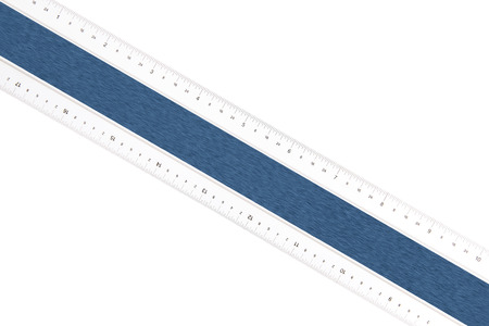 Construction ruler diagonal on white background