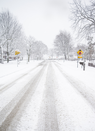 Driving safely on winter roads in Michigan Stock Photo