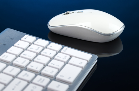 Modern Keyboard and mouse for computer Close-up Stock Photo