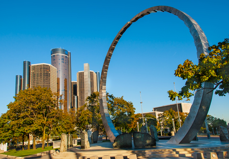 Hart plaza circle monument  in downtown detroit Editorial