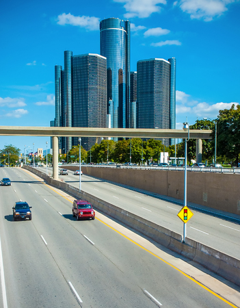 Freeway traffic into downtown detroit business district