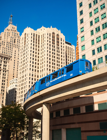 Commuter train travel in downtown detroit Editorial