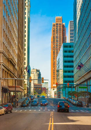 Rush hour traffic in downtown detroit business district Editorial
