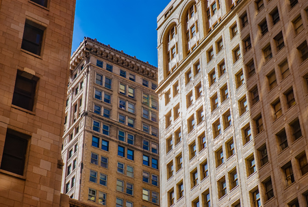 Old Classic buildings style in downtown Detroit