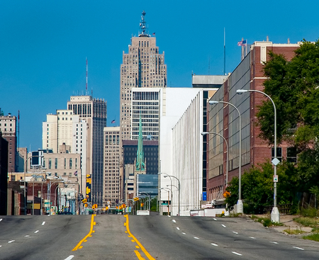 Rush hour traffic in downtown detroit business district Stock Photo