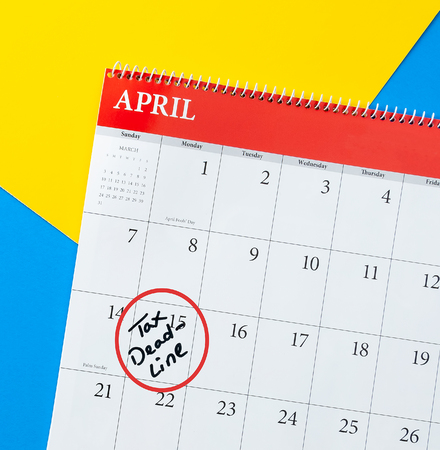 Colorful calendar with tax deadline highlighted