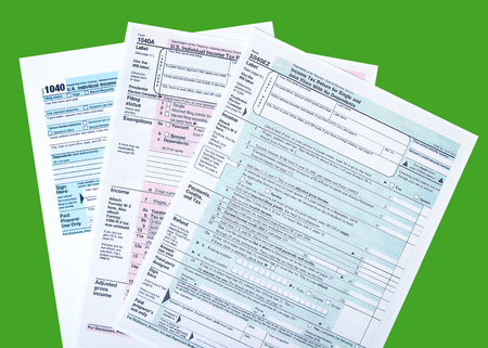 Variety of tax forms for filing calculations