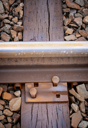 Close up of rail tie mount with nails Stock Photo