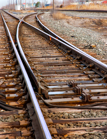 Main line train track switches and yard