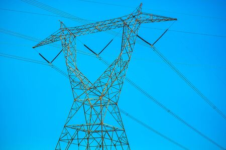 Towering power lines for local electricity services Imagens