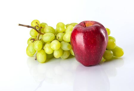 Grapes and Apple for healthy eating snack Stock Photo
