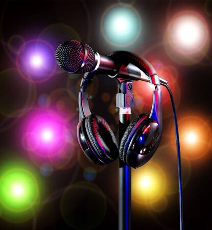 Live on colorful stage lights singers microphone and headset Foto de archivo - 138396150