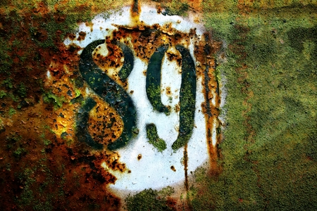 No. 89 painted on a rusty sheet