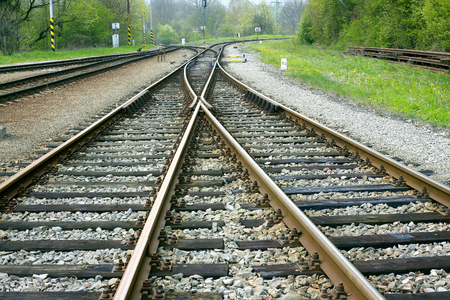 Railroad tracks with an avoider Stock Photo