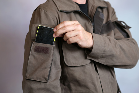boilersuit: Specialized mens clothing with pocket for instruments and devices