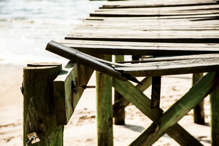 Damaged dock stands alone seven years after hurrican Katrina comes ashore in Waveland, Mississippi Stock Photo - 17357019
