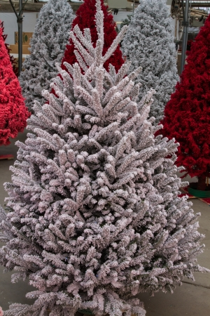 fake christmas tree: Shot of colored Christmas trees, flocked in different colors Stock Photo