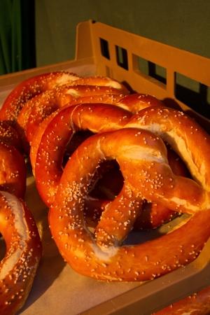 pretzel: Tray of German Soft Pretzels at a Denver food market