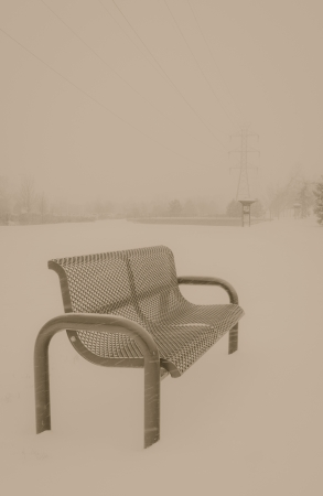 An emtpy park bench in a snow storm in Colorado in the winter Stock Photo - 17495574