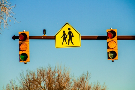proceed: Yellow stop light at school crossing with student carrying book icon on yellow sign