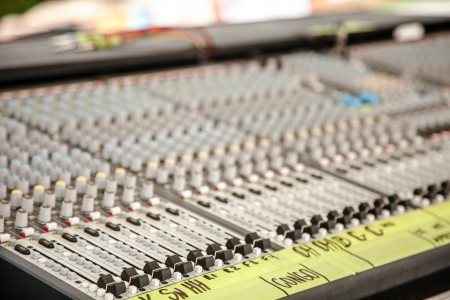 live performance: Horizontal shot of live performance audio table