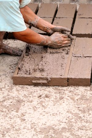 undeveloped: hand made bricks from clay