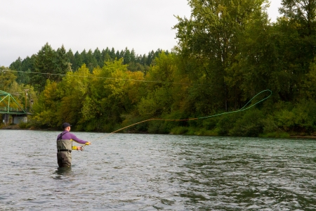 A spey casting fly fisherman swings flies for steelhead on the Willamette River in Oregon.