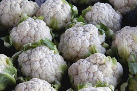 organic white cauliflower heads