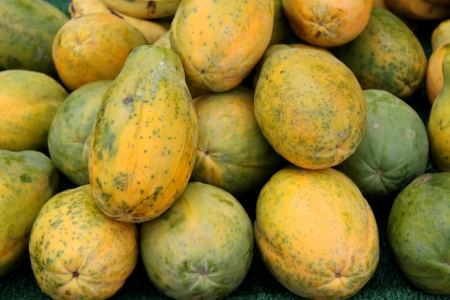 fresh organic papaya at a farmer s market Stock Photo