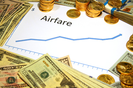 rise fall: airfare chart graph going up with gold and money