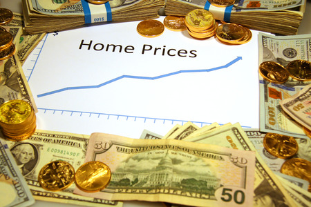 home prices: graph chart with home prices rising with gold money