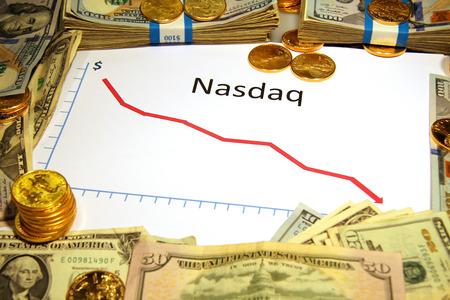 nasdaq: graph chart with nasdaq falling down with gold money