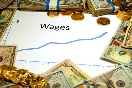 salarios: la carta del gr�fico de los salarios se levanta con el dinero de oro
