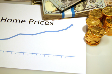 home prices: home prices rising up chart graph with gold money