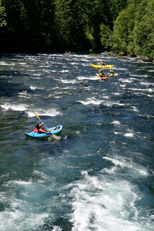 float tube: white water rafting Stock Photo