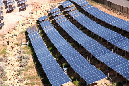 solar array: array of solar panels Stock Photo